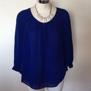 100% Silk J.Crew Cobalt Blue Dress Blouse 6P